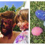 Gerard Piqué con sus hijos Milan y Sasha pintando los huevos de Pascua 2017
