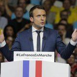 Emmanuel Macron durante un mitin de su campaña electoral