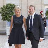 Brigitte Trogneux y Emmanuel Macron en la cena de gala en honor a los Reyes de España en el Elíseo