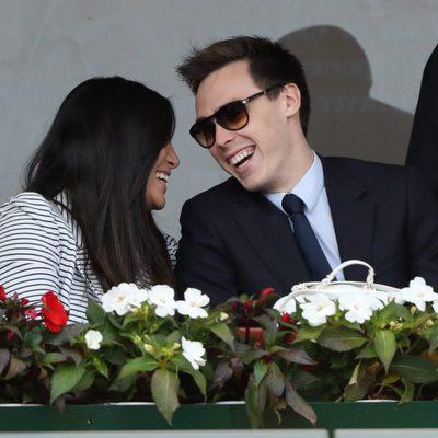 Louis Ducruet y Marie Chevallier ríen divertidos en la final del Master 1000 de Monte-Carlo 2017