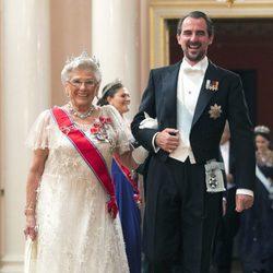 Astrid de Noruega y Nicolás de Grecia en una cena de gala por el 80 cumpleaños de los Reyes de Noruega