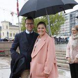 La princesa Victoria y el Principe Daniel de Suecia en el 80 cumpleaños de Harald y Sonia de Noruega