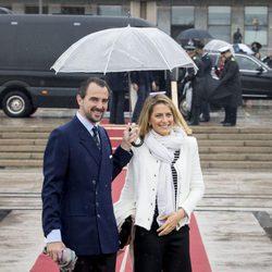 El príncipe Nicolás y la princesa Tatiana de Grecia en el 80 cumpleaños de Harald y Sonia de Noruega