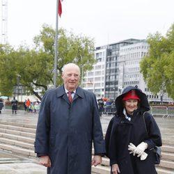 Harald y Sonia de Noruega en la celebración de sus 80 cumpleaños