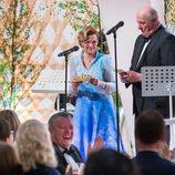 Harald y Sonia durante su discurso en la cena de su 80 cumpleaños