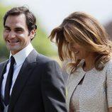 Roger Federer y su mujer Mirka Vavrinec en la boda de Pippa Middleton y James Matthews