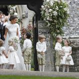 Kate Middleton con sus hijos en la boda de Pippa Middleton y James Matthews