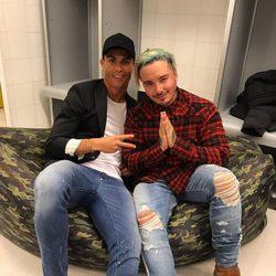 Cristiano Ronaldo con J Balvin tras su concierto en Madrid