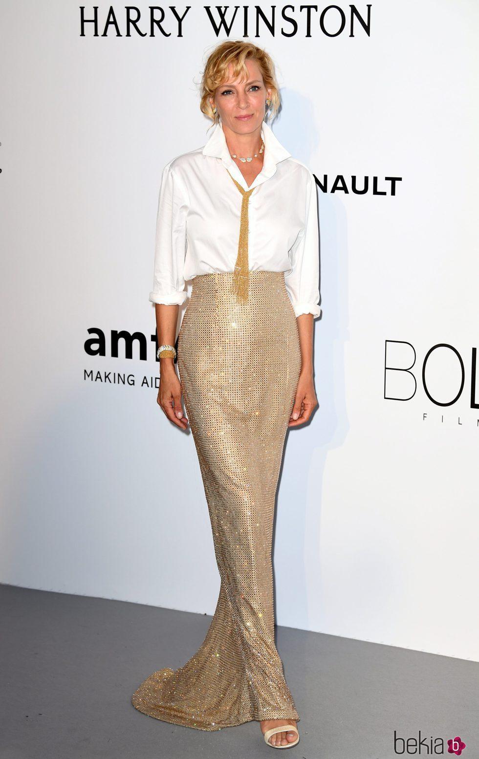 Uma Thurman en la Gala amfAR del Festival de Cannes 2017