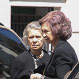 La Reina Sofía e Irene de Grecia en el funeral de Alexandros Goulandris