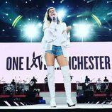 Miley Cyrus durante su actuación en el concierto One Love Manchester