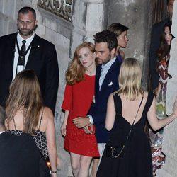 Jessica Chastain y Gian Luca Passi de Preposulo en la fiesta previa a su boda