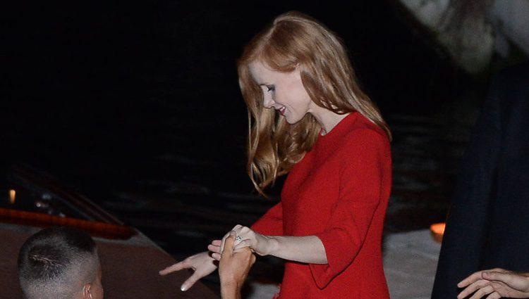 Jessica Chastain en la fiesta previa a su boda en Venecia