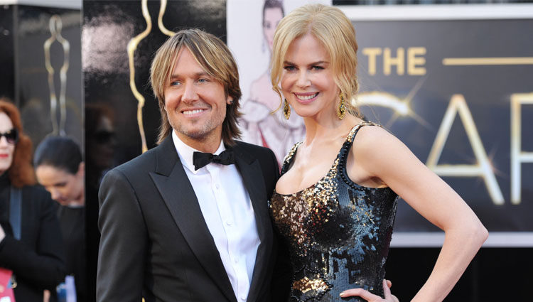 Nicole Kidman y su marido Keith Urban en los Oscar de 2013