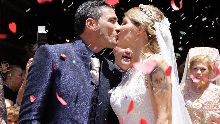 José Antonio Reyes con Noelia López el día de su boda