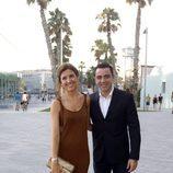 Xavi Hernández y Nuria Cunillera en la fiesta preboda de Bartra y Melissa Jiménez