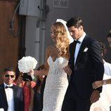 Álvaro Morata y Alice Campello saliendo de la iglesia tras casarse en Venecia