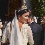 Macarena Rodríguez yendo al altar el día de su boda
