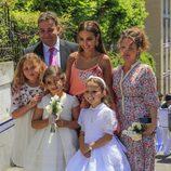 Paula Echevarría y Daniella con su familia en el Corpus Christi de candás
