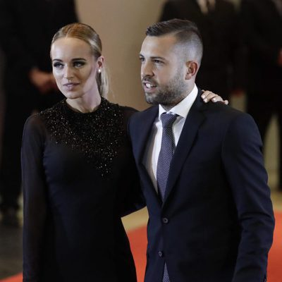 Jordi Alba y Romarey Ventura en la boda de Messi y Antonella Roccuzzo
