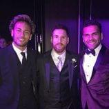 Leo Messi con Neymar y Dani Alves el día de su boda