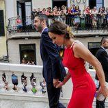 Juan Carlos Navarro y su mujer Vanesa García en la boda de Sergio Llul y Almudena Cánovas