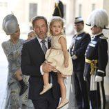 Chris O'Neill con su hija Leonor de Suecia en el 40 cumpleaños de Victoria de Suecia