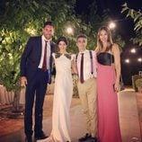 Canco Rodríguez con su mujer, Helen Lindes y Rudy Fernández durante su boda