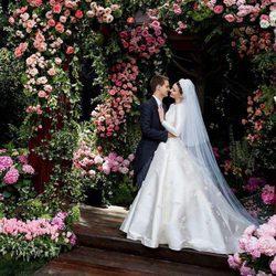 Miranda Kerr en una romántica imagen con Evan Spiegel el día de su boda