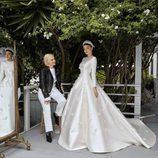 Miranda Kerr el día de su boda con la diseñadora de su vestido de novia