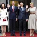 Los Duques de Cambridge con el presidente de Polonia y la Primera Dama
