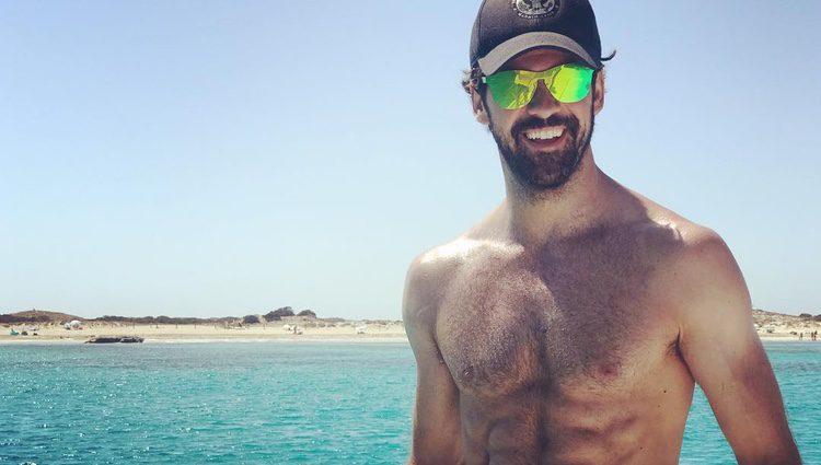 Miguel Ángel Muñoz feliz en Ibiza