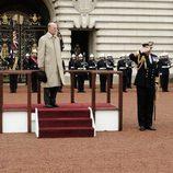 El Duque de Edimburgo en el atril durante su último acto público