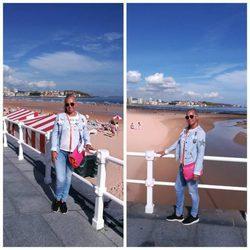 Belén Esteban en la playa de San Lorenzo, en Gijón
