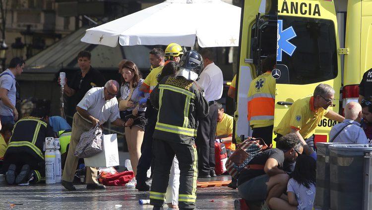 Víctimas tras el atentado de Barcelona