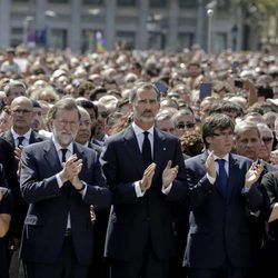 El Rey Felipe tras el minuto de silencio en recuerdo a las víctimas de los atentados de Barcelona y Cambrils