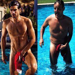 Ángel Llàcer imitando a Rubén Cortada saliendo de la piscina