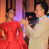 José Ortega Cano y Gloria Camila cruzando miradas durante la semana cultura en honor a Rocío Jurado