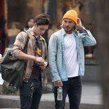 David Beckham y su hijo Brooklyn Beckham en Nueva York