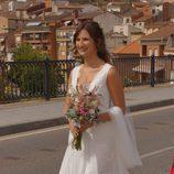Anna Ruiz llegando a su boda con Alberto Garzón en Ceniceros, La Rioja