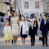 Mary de Dinamarca con sus hijos en el 18 cumpleaños de Nicolás de Dinamarca