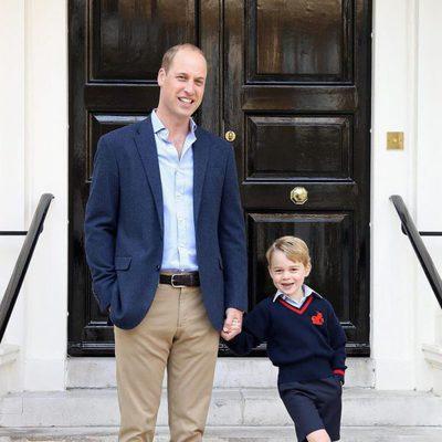 El Príncipe Jorge muy feliz en su primer día de colegio junto al Príncipe Guillermo