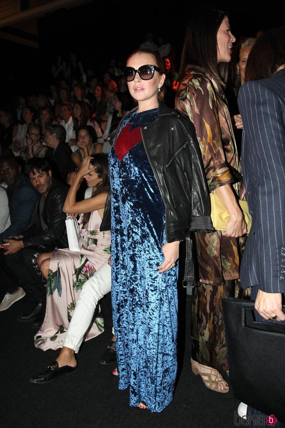 Lindsay Lohan en el desfile de Angel Schlesser en la Madrid Fashion Week 2017