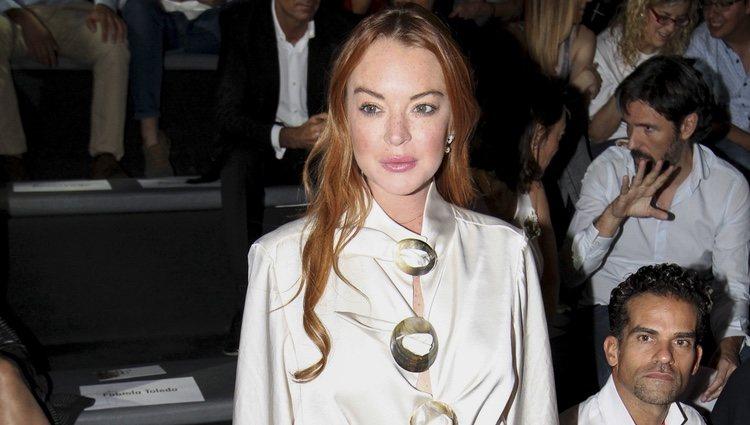 Lindsay Lohan en el desfile de Devota & Lomba en la Madrid Fashion Week 2017