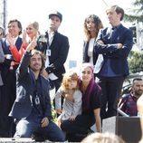La familia de Ángel Nieto en el homenaje celebrado a las puertas del Bernabéu en Madrid