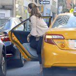 Magdalena de Suecia saliendo de un taxi en Nueva York