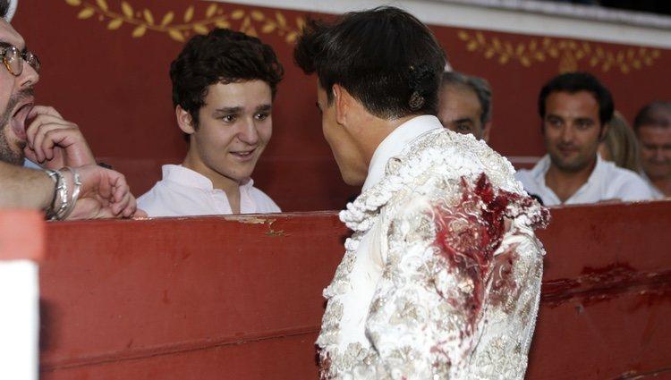 Froilán con Gonzalo Caballero en su corrida benéfica