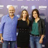 Joan Carles Capdevila , Mamen Márquez y Laura Andrés en la presentación de 'OT 2017'
