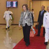 La Reina Sofía a su llegada a Bangkok para el funeral de Bhumibol de Tailandia