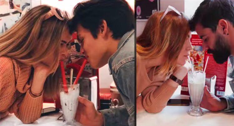 Yoli y Jonathan ('GH15') imitando una foto bebiendo del mismo batido